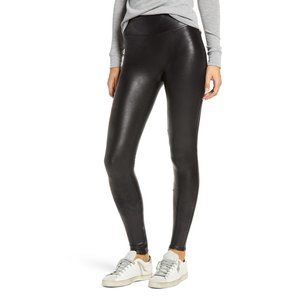 NWOT Spanx Black Faux Leather Pull On Leggings